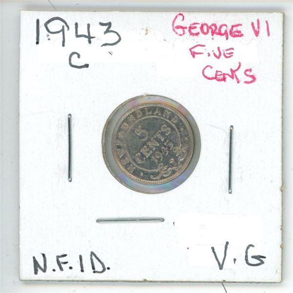 1943 C George VI ¢5 Silver Newfoundland VG