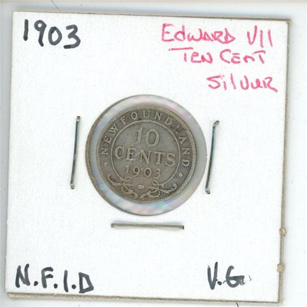 1903 Edward VII ¢10 Silver Newfoundland VG
