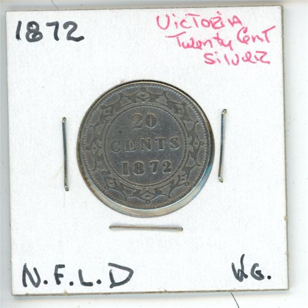 1872 Victoria ¢20 Silver Newfoundland VG