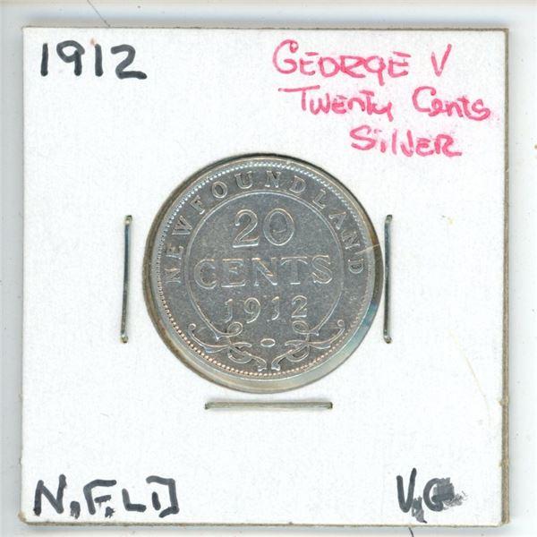 1912 George V ¢20 Silver Newfoundland Vg