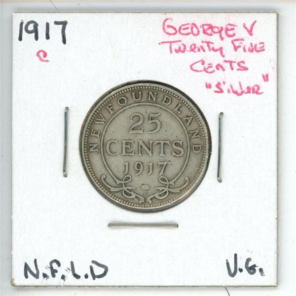 1917 C George V ¢25 Silver Newfoundland Vg