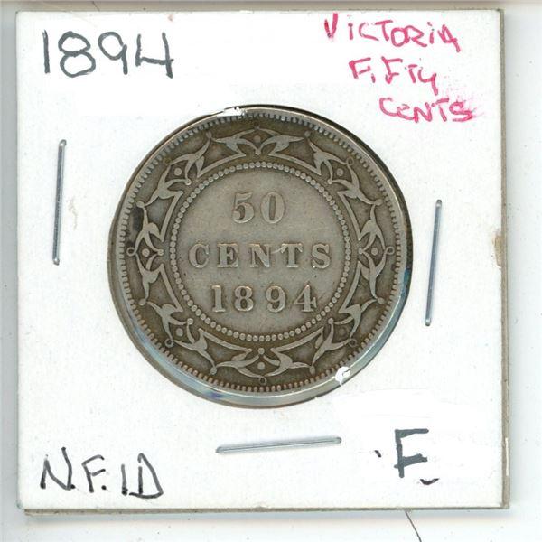 1894 Victoria ¢50 Newfoundland F