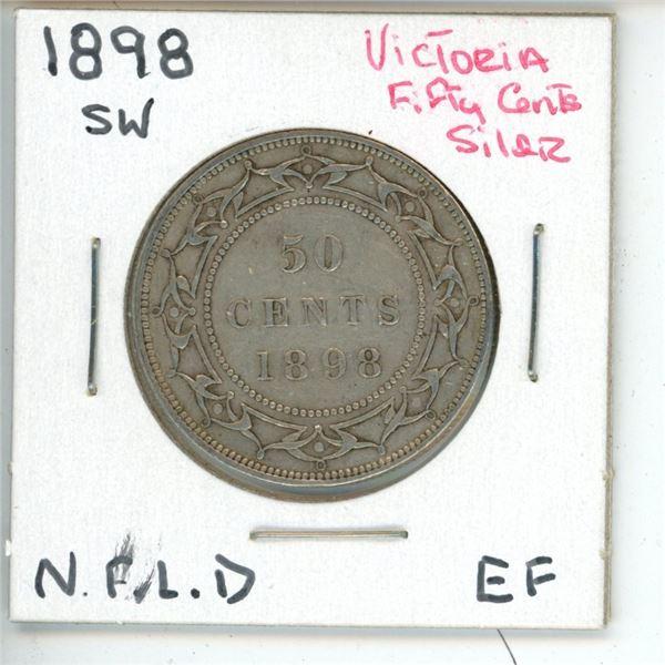 1898 SW Victoria ¢50 Silver Newfoundland EF