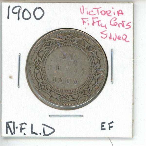 1900 Victoria ¢50 Silver Newfoundland EF