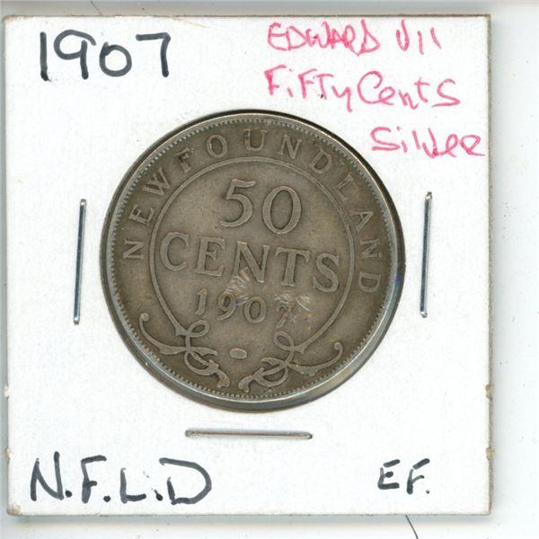 1907 Edward VII ¢50 Silver Newfoundland EF