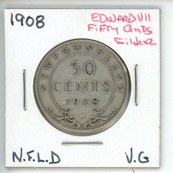 1908 Edward VII ¢50 Silver Newfoundland VG