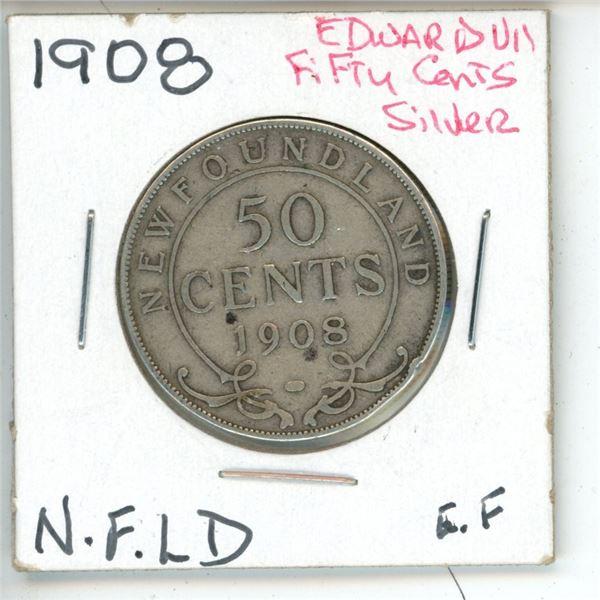 1908 Edward VII ¢50 Silver Newfoundland EF
