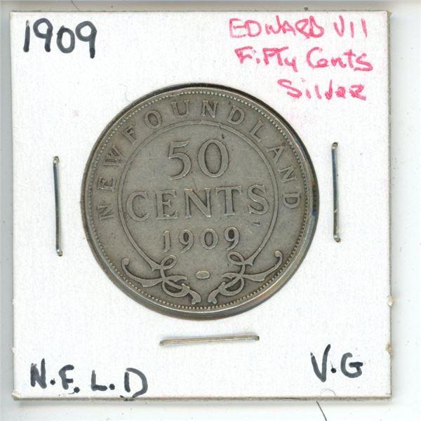 1909 Edward VII ¢50 Silver Newfoundland VG