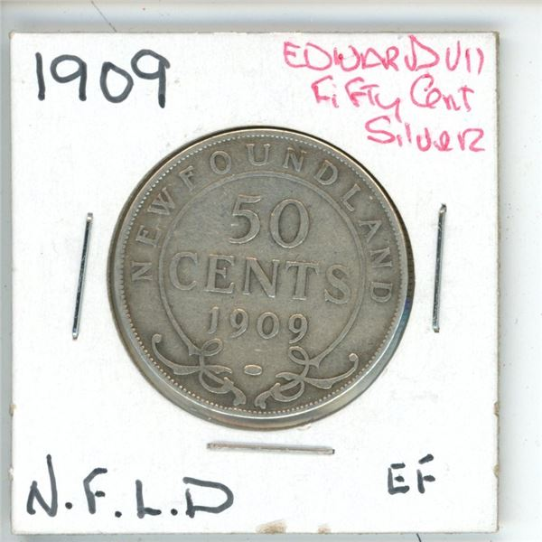 1909 Edward VII ¢50 Silver Newfoundland EF