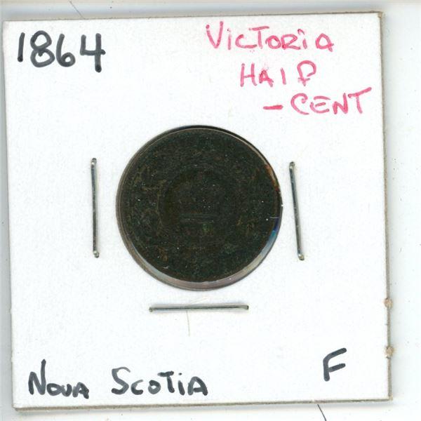 1864 Victoria Half Cent Nova Scotia F