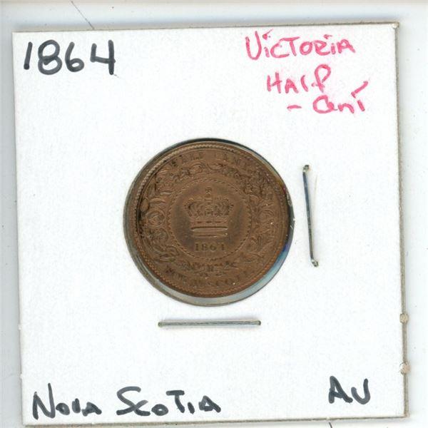 1864 Victoria Half Cent Nova Scotia Av