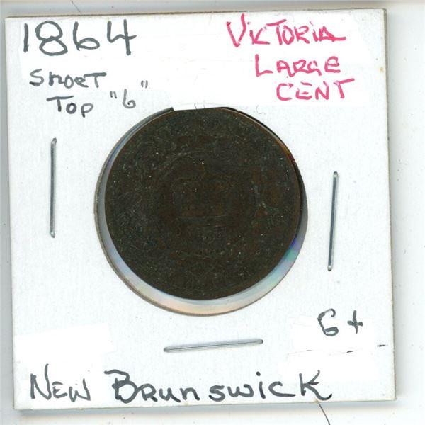 "1864 Short Top ""6"" Victoria Large Cent New Brunswick G+"
