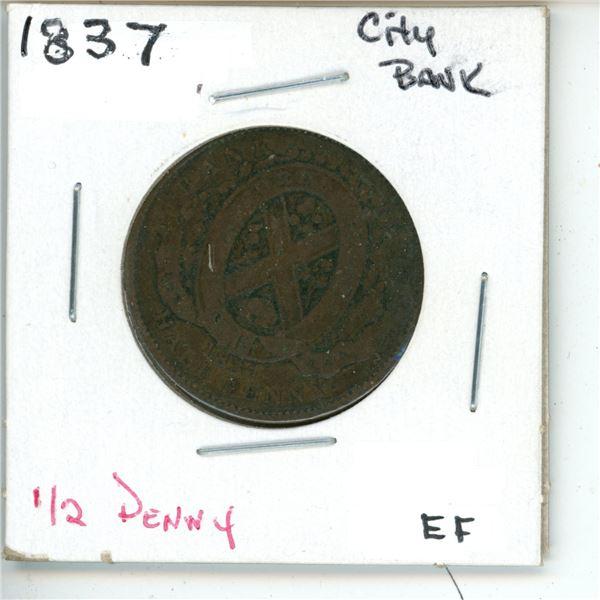1837 City Bank ½Penny EF