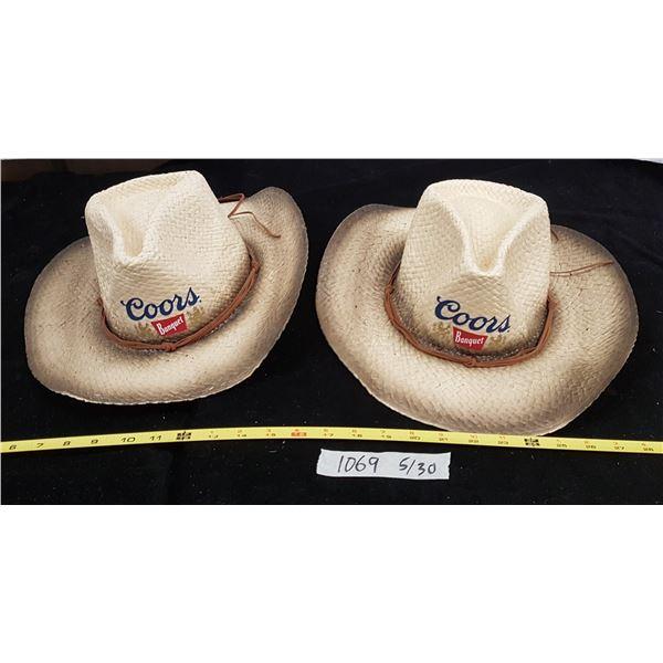 2 X Coors Cowboy Hats