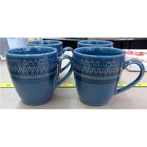4 Blue Mugs