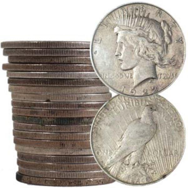 20 pcs. Mixed Dates SIlver Peace Dollars