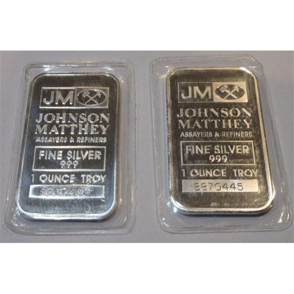 (2) 1 oz Johnson Matthey Collectible Silver Bar