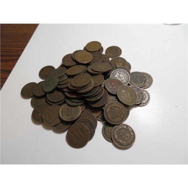 100 pcs. Random Date and Grade Indian Head Cents