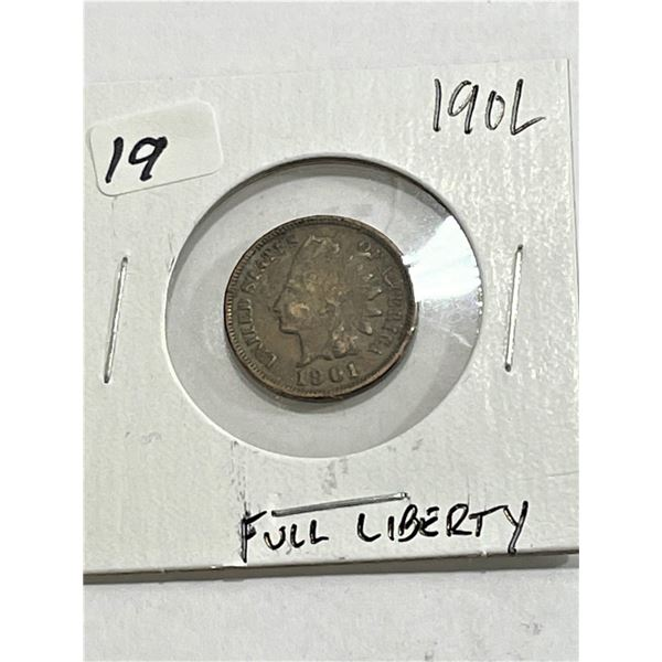 1901 Full Liberty Indian Head Cent