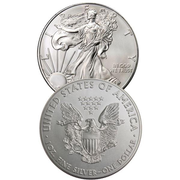 (2) Random Date US Silver Eagles BU Grade