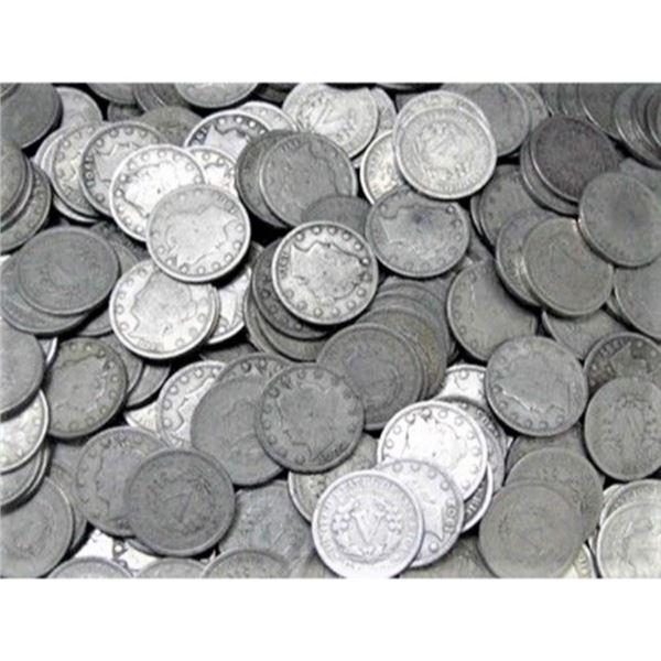 (100) V Nickels - Random AVG. Circulated