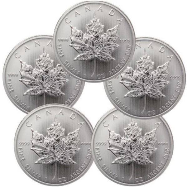 (5) Canadian Silver Maple Leafs - .999 Pure