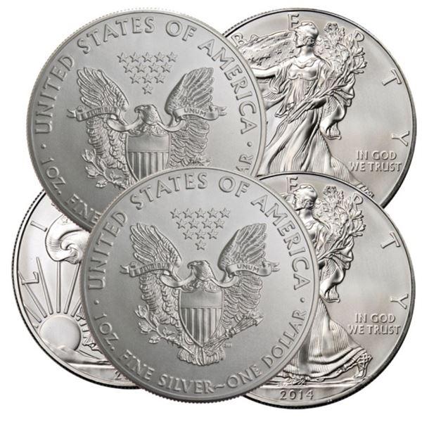 (5) US Silver Eagles Random Dates BU Grade
