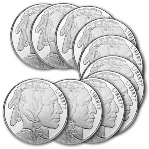 (10) 1 oz. Silver Buffalo Design Rounds-.999 Pure