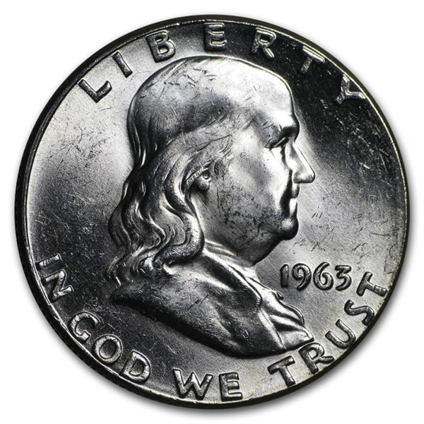 1963 CH BU Franklin Half Dollar
