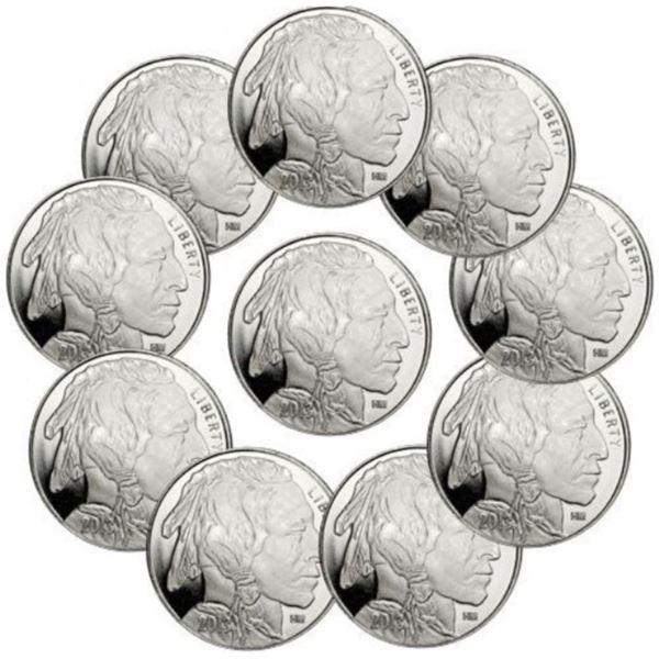 (10) Buffalo Design Silver Rounds- .999 Pure
