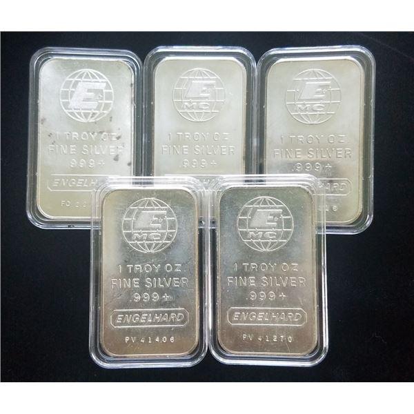 Lot of 5 Engelhard 1 oz Silver Bars