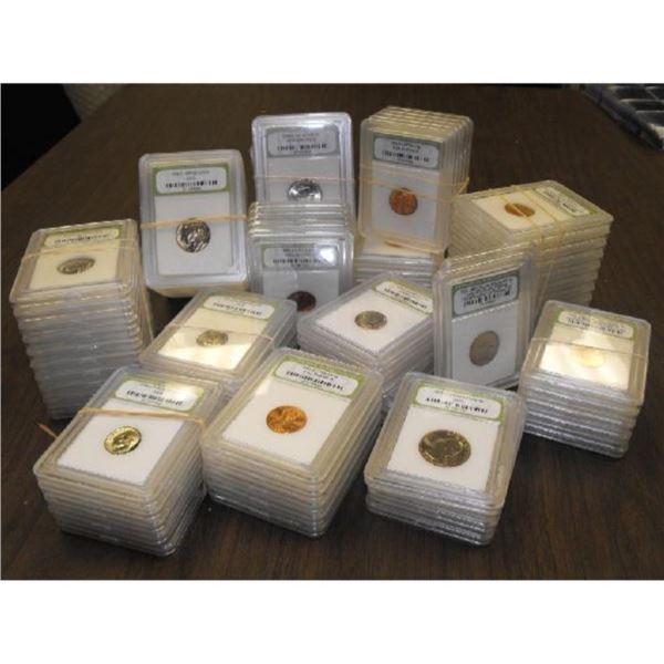 Lot of (50) INB Slabbed PROOF-BU Coins