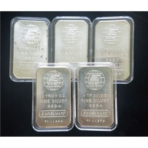 (5) 1 oz Silver Engelhard Bars