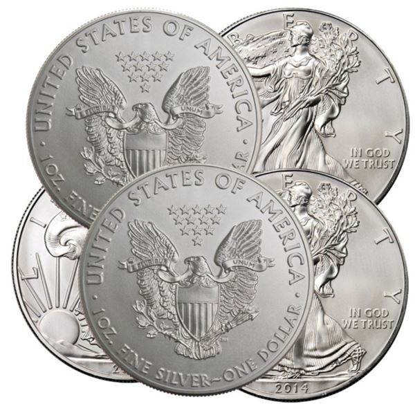 (5) Random Date US Silver Eagles- BU Grade