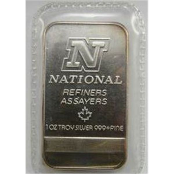 1 oz, National Refiners Silver Bar