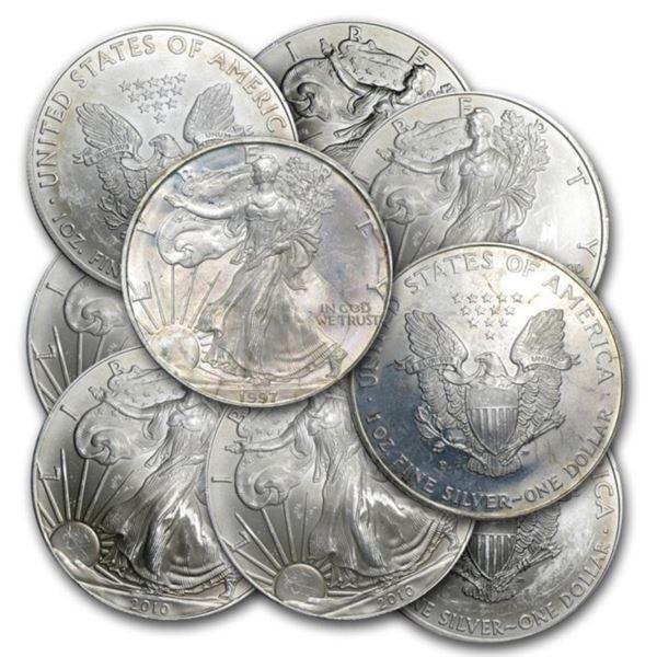 (10) Random Date US Silver Eagles