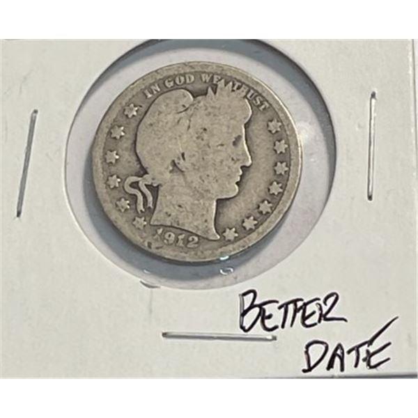 1912 Better Date Barber Quarter
