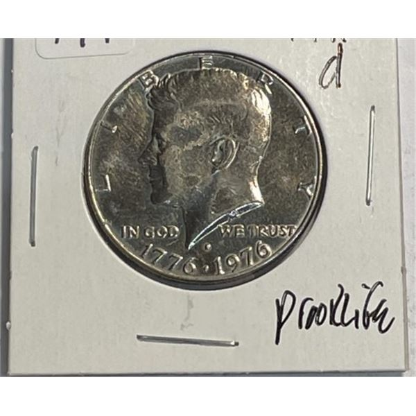 1976 d Prooflike Kennedy Half Dollar