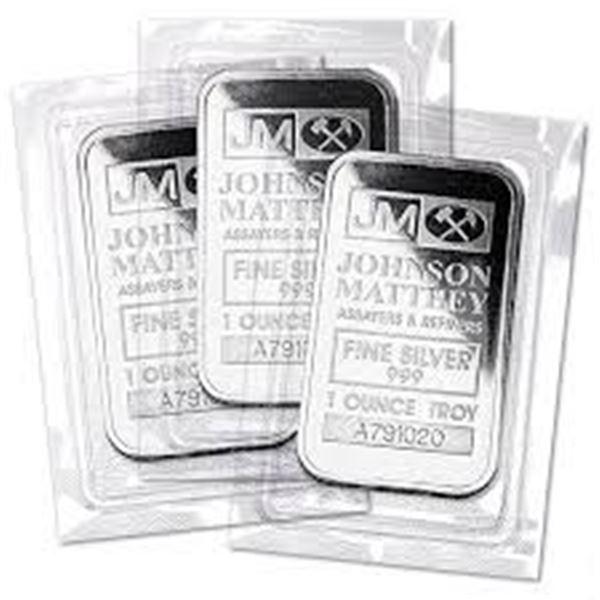 (5) 1 oz Matthey Johnson Silver Bars