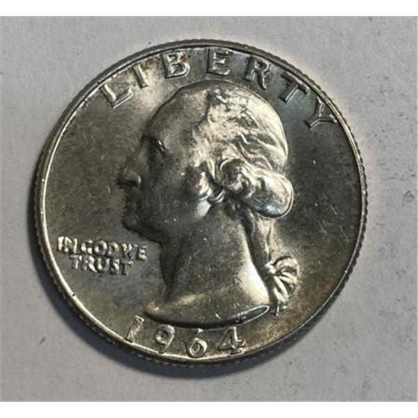 1964 D BU Grade Washington Quarter