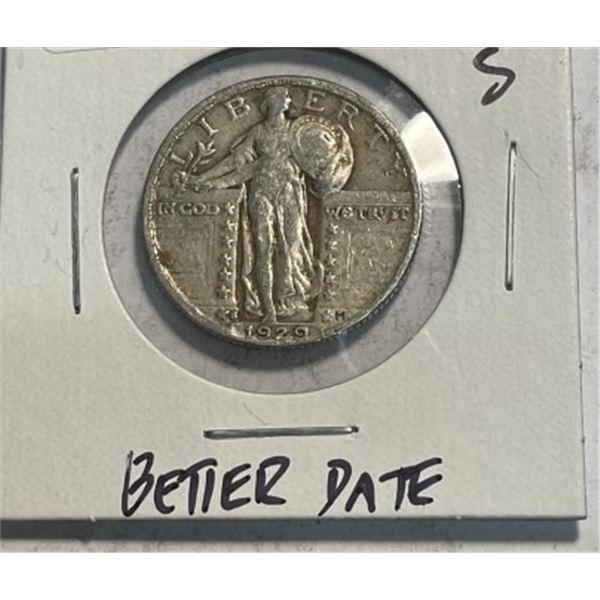 1929 s Better Date Standing Liberty Quarter