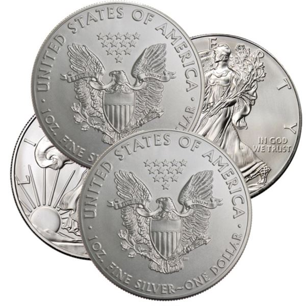 (4) Random Date US Silver Eagles BU Grade