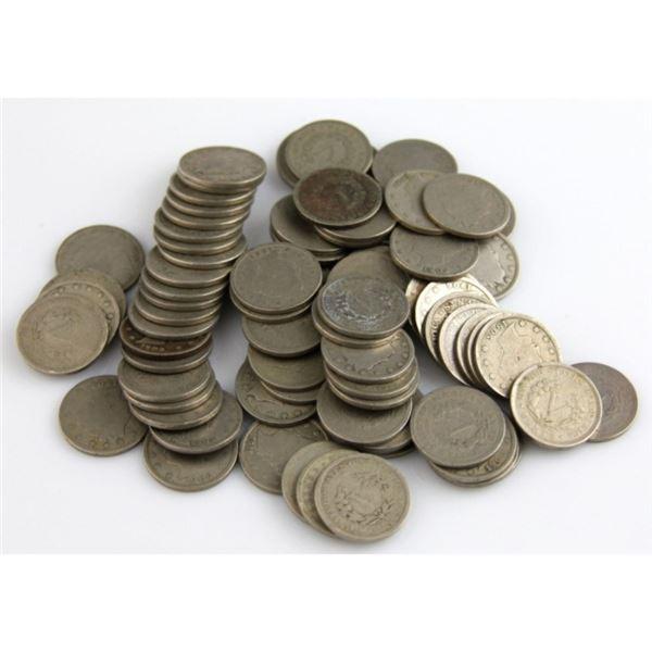 (50) V Nickels - Old Dealer Stock