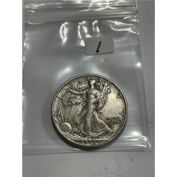1943 S AU Grade Walking Liberty Half Dollar