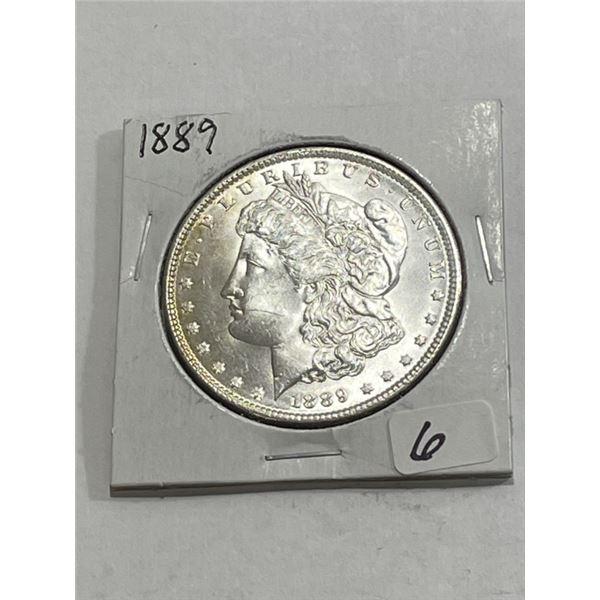1889 CRISP BU Morgan Silver Dollar