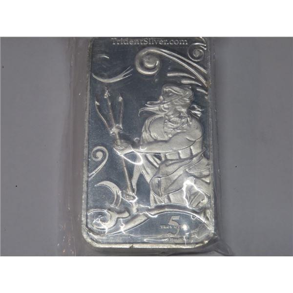 RARE 5 oz Trident Mint Neptune Silver Bar