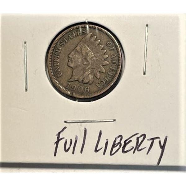 1906 Full Liberty Indian Head Cent
