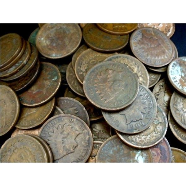 Lot of 100 Indian Head Cents - Circulated