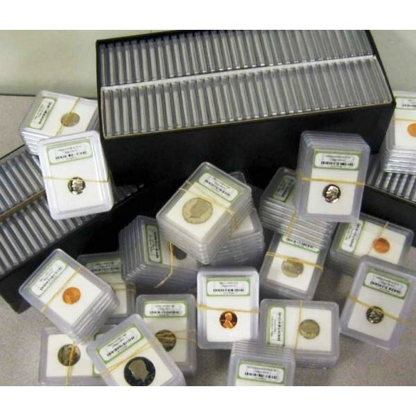 Lot of (100) Slabbed BU and Proof Coins INB in Box