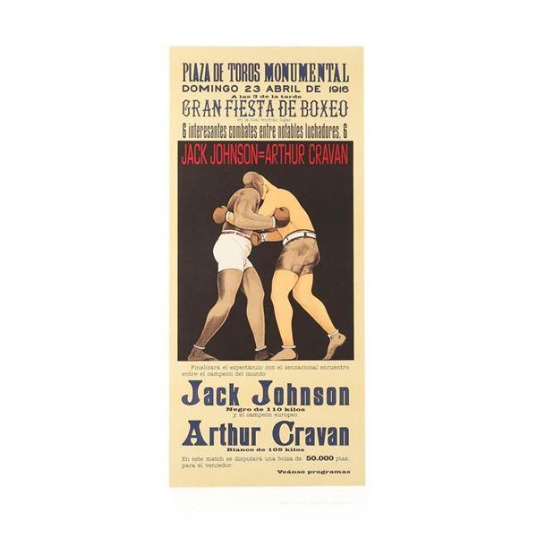 Jack Johnson vs Arthur Cravan Lithograph Vintage Boxing Poster Hand Pulled